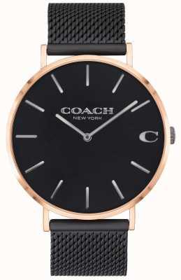 Coach | charles uomo | bracciale a maglie nere | quadrante nero | 14602470