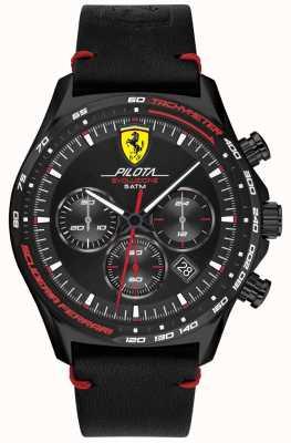 Scuderia Ferrari | pilota evo maschile | cinturino in pelle nera | quadrante nero 0830712