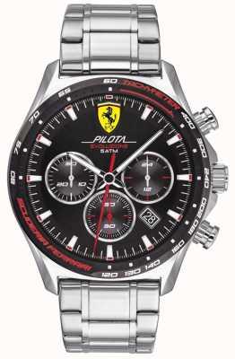 Scuderia Ferrari | pilota evo maschile | bracciale in acciaio inossidabile quadrante nero | 0830714