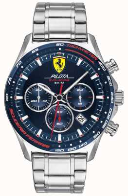 Scuderia Ferrari | pilota evo maschile | bracciale in acciaio inossidabile quadrante blu 0830749