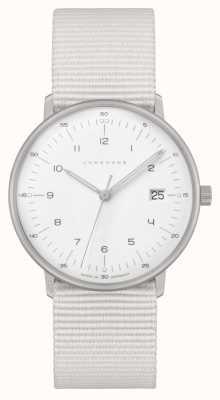 Junghans Max bill damen | cinturino in nylon bianco | quadrante bianco 047/4050.04