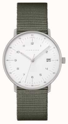 Junghans Max bill damen | cinturino in nylon grigio | quadrante bianco 047/4051.04