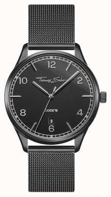 Thomas Sabo | glam e soul | bracciale da donna in maglia nera | quadrante nero WA0362-202-203-36