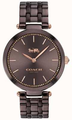 Coach | parco femminile | bracciale in acciaio nero / marrone | quadrante marrone 14503507