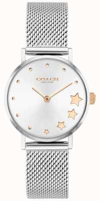 Coach | perry femminile | braccialetto a maglie d'argento | quadrante argentato | 14503519