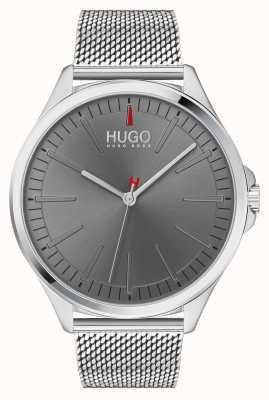 HUGO #smash | braccialetto a maglie d'argento | quadrante grigio | 1530135