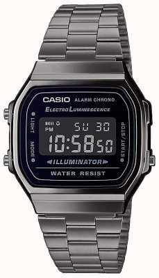 Casio | vintage | bracciale in acciaio inossidabile argento | quadrante nero | A168WEGG-1BEF