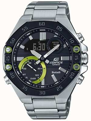 Casio | edificio bluetooth | acciaio inossidabile | quadrante nero ECB-10DB-1AEF