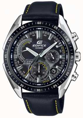 Casio | edificio | cronografo | cinturino in pelle nera | quadrante nero EFR-570BL-1AVUEF