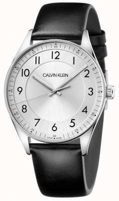 Calvin Klein | luminoso | cinturino in pelle nera | quadrante argentato KBH211C6