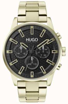 HUGO #seek | bracciale in acciaio inossidabile oro | quadrante nero | 1530152