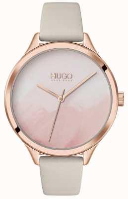 HUGO #smash | quadrante rosa cipria | cinturino in pelle color crema 1540059