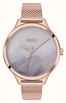 HUGO #smash | quadrante grigio fard | maglia in oro rosa 1540060