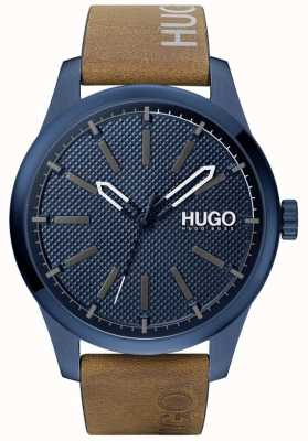 HUGO #invent | quadrante blu | cinturino in pelle marrone 1530145