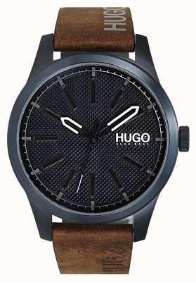 HUGO #invent | quadrante blu | cinturino in pelle marrone 1530145