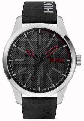 HUGO #invent | quadrante nero | cinturino in pelle nera 1530146