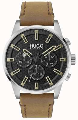 HUGO #seek | quadrante nero | cinturino in pelle marrone 1530150