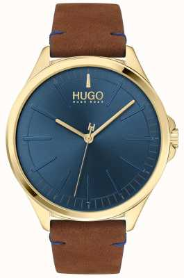 HUGO #smash | quadrante blu | cinturino in pelle marrone 1530134