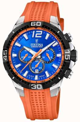 Festina Chrono bike 2020 quadrante blu cinturino arancione F20523/6