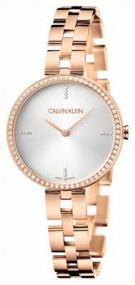 Calvin Klein Eleganza | braccialetto pvd oro rosa | quadrante argentato KBF23146