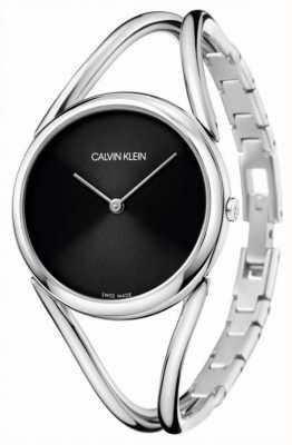 Calvin Klein Signora | bracciale bangle in acciaio inossidabile quadrante nero KBA23121