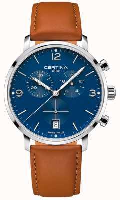 Certina Uomo | ds caimano | cronografo | quadrante blu | pelle marrone C0354171604700