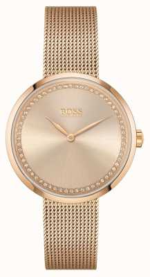 BOSS | lode delle donne | bracciale in maglia d'acciaio oro rosa | quadrante rosa 1502548