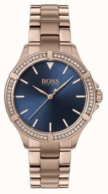 BOSS | mini sport femminile | braccialetto in oro rosa | quadrante blu 1502468