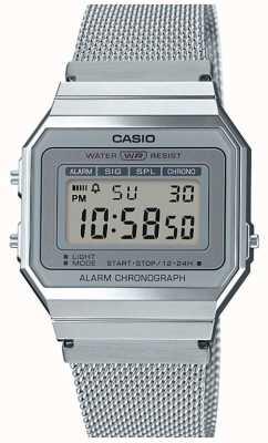 Casio | annata | bracciale a maglie d'acciaio | cronometro | retroilluminazione a led A700WEM-7AEF