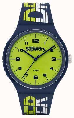 Superdry Urban xl racing | cinturino in silicone blu scuro | quadrante verde SYG269UN