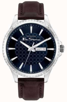 Ben Sherman | cinturino in pelle marrone da uomo | quadrante blu BS029BR