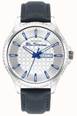 Ben Sherman | cinturino in pelle blu da uomo | quadrante argentato BS029U