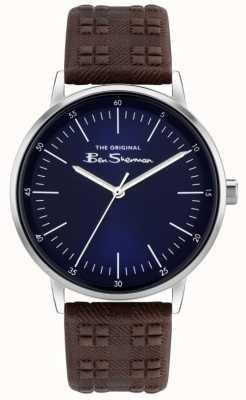 Ben Sherman | cinturino da uomo in pelle stampa check marrone | quadrante blu BS031BR