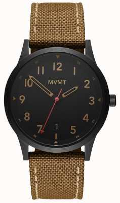 MVMT | campo | cinturino in tela marrone | quadrante nero 28000017-D