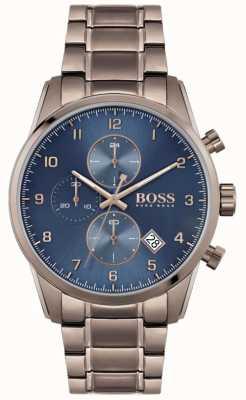 BOSS | skymaster per uomo | bracciale marrone con ioni | quadrante blu 1513788