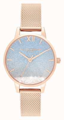 Olivia Burton Desiderio onda | quadrante glitter | cinturino a maglie in oro rosa OB16EX204