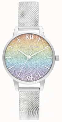 Olivia Burton Bracciale da donna in maglia d'argento | quadrante glitter multicolore OB16GD69