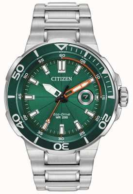 Citizen Quadrante verde sportivo da uomo con datario AW1428-53X
