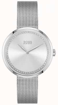 BOSS Lode | bracciale donna in maglia d'acciaio | quadrante in cristallo argento 1502546
