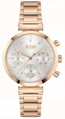 BOSS Impeccabile | bracciale pvd da donna in oro rosa | quadrante argentato 1502531