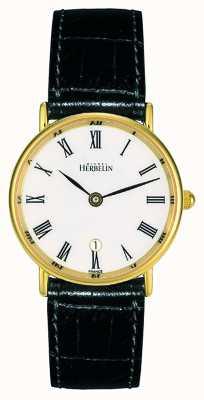 Michel Herbelin Cinturino da donna in pelle nera | quadrante bianco | cassa in oro 16845/P01