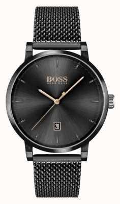 BOSS | fiducia degli uomini | bracciale a maglie nere | quadrante nero 1513810