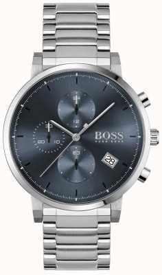 BOSS | integrità maschile | bracciale in acciaio inossidabile quadrante blu 1513779