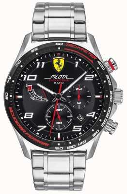 Scuderia Ferrari | pilota evo maschile | bracciale in acciaio inossidabile quadrante nero 0830720