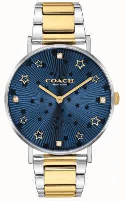 Coach | perry femminile | bracciale in acciaio bicolore | quadrante stella blu 14503523