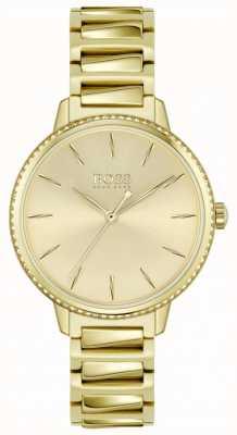BOSS | firma femminile | bracciale in acciaio placcato oro | quadrante dorato 1502541