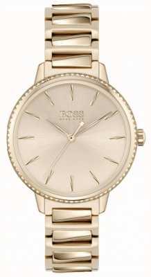 BOSS Firma femminile | bracciale in acciaio oro rosa | quadrante oro rosa 1502540