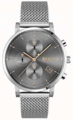 BOSS | integrità maschile | bracciale a maglie d'acciaio | quadrante grigio / nero 1513807