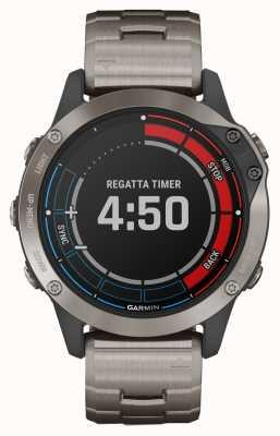 Garmin Zaffiro Quatix 6 | orologio marino gps con cinturino grigio titanio 010-02158-95