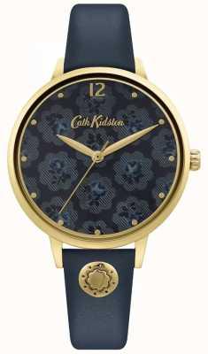 Cath Kidston | cinturino in pelle da donna blu navy | quadrante floreale CKL093UG